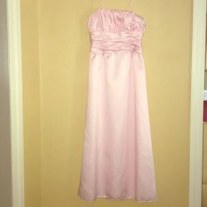Bari Jay Pink Evening Gown with Dusty rose sash